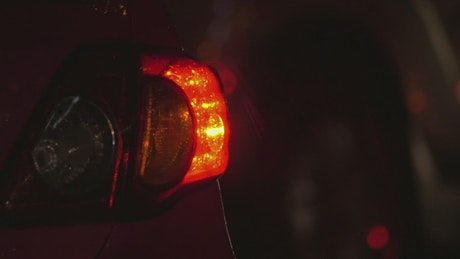 Hazard lights flashing on a car