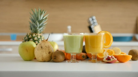 Healthy diet promoting fresh fruit smoothies