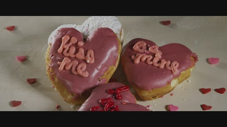 Heart shaped valentines donuts