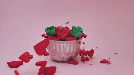 Hearts and roses of candy in flower pot