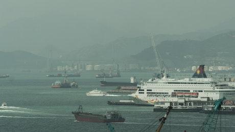 Heavy boat traffic in Hong Kong Harbor