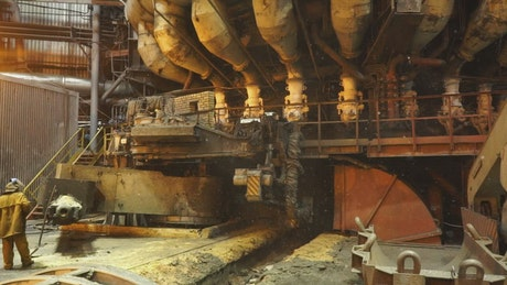 Heavy machinery in a factory