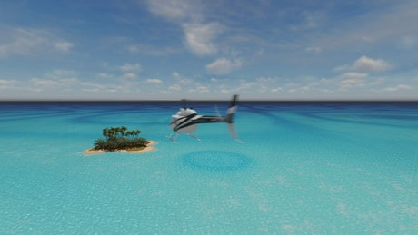 Helicopter arriving to a tropical island