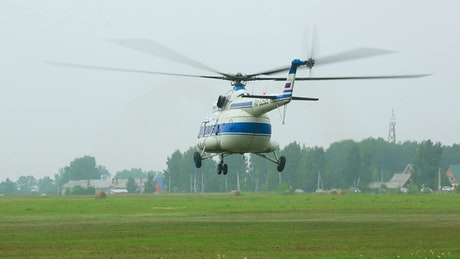 Helicopter Take-off from the field
