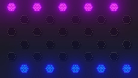 Hexagons wall of colored light igniting in sequence