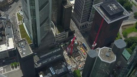 High aerial view of buildings in Frankfurt