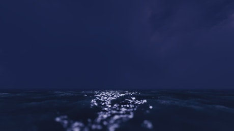High speed flight over the sea surface at night