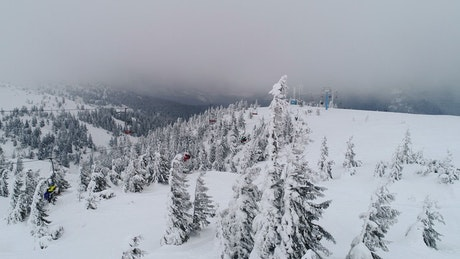 High view of a ski lift