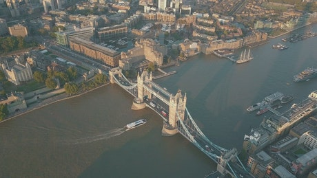 High view of Tower Bridge in London, England