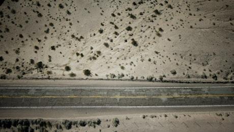 Highway cutting through the desert