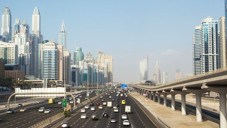 Highway in the Dubai marina on a sunny day