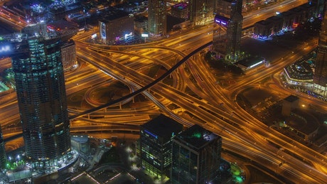 Highway junction traffic at night