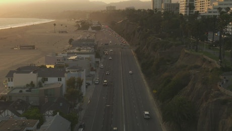 Highway near the seashore in LA