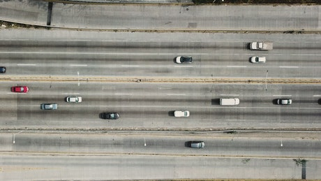 Highway traffic seen through drone