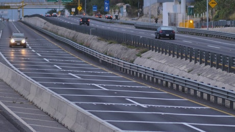 Highway with cars passing in slow motion