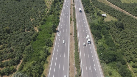 Highway with cars surrounded by vegetation