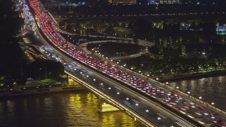 Highway with heavy traffic at night