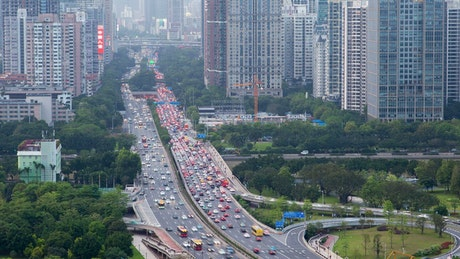 Highway with heavy traffic in the city