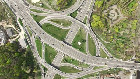 Highways at an intersection from top