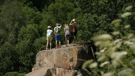 Hiking group reaching their goal