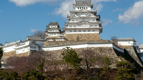 Himeji Castle seen from below during a sunny day
