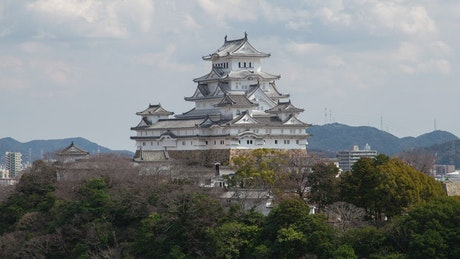 Himeji historic castle time lapse in japan