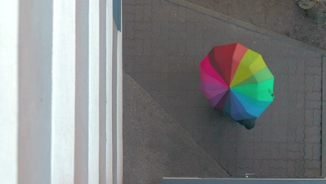 Holding a rainbow umbrella outside