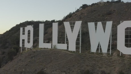 Hollywood sign, aerial shot