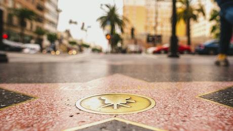 Hollywood Walk of Fame sidewalk star timelapse