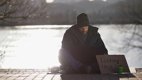 Homeless man asking for work