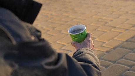 Homeless man begging for money