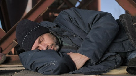 Homeless man resting