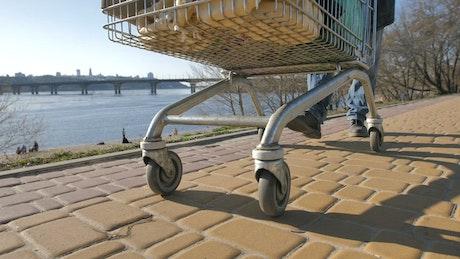Homeless man with a cart