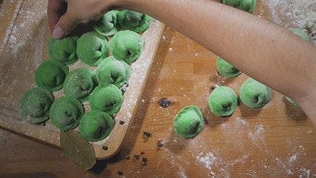 Homemade green dumplings