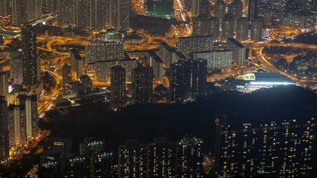 Hong Kong aerial cityscape at night