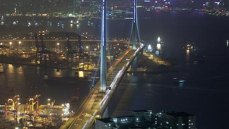 Hong Kong bay and bridge traffic at night