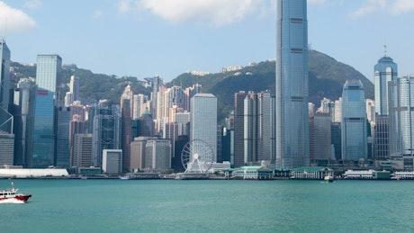 Hong Kong bay and skyscrapers at daytime