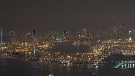 Hong Kong city and harbor and night