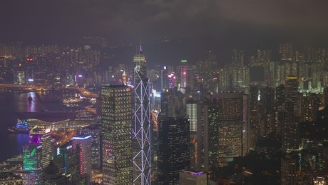 Hong Kong city landscape in a cloudy night