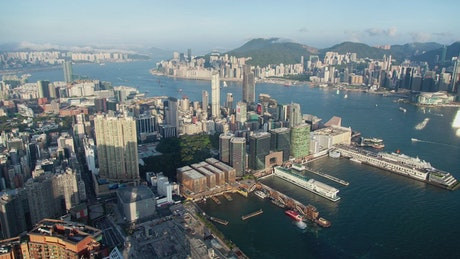 Hong Kong city scape on a sunny day