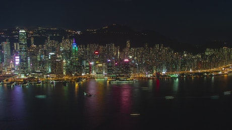 Hong Kong city skyline and bay in the night
