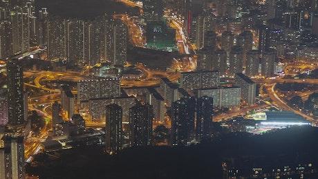 Hong Kong cityscape and traffic at night
