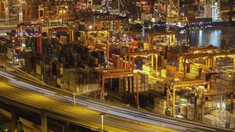 Hong Kong containerport at night