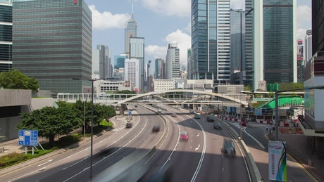 Hong Kong highway with fast traffic