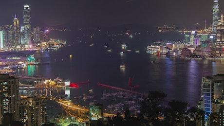 Hong Kong iluminated harbor at night