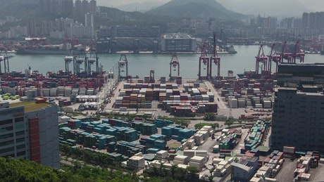 Hong Kong industrial container port at daytime
