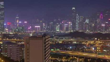 Hong Kong overpass road and skyscraper