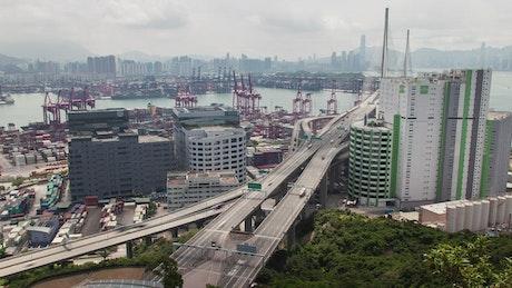Hong Kong road near the industrial port