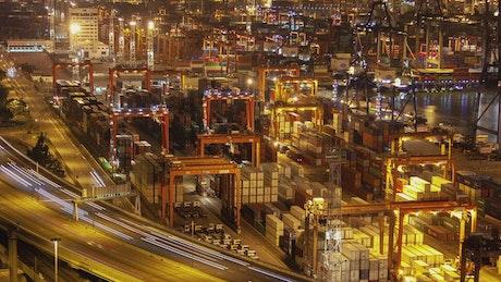 Hong Kong trading port working at night