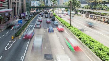 Hong Kong traffic and skycrapers
